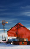Windmill and Red Barn Royalty Free Stock Image