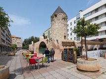 Windmill restaurant in Quattro Molinos. PALMA DE MALLORCA, BALEARIC ISLANDS, SPAIN - APRIL 6, 2016: Windmill restaurant in the area Quattro Molinos in Palma de Stock Photos