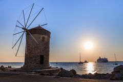 Windmill at Rhodes Greece Royalty Free Stock Photos
