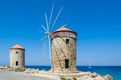 Windmill at Rhodes Stock Photo