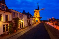 Windmill in Wijk bij Duurstede Netherlands at Dusk Royalty Free Stock Image