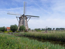 Windmill on the Rotte river in Zuidplaspolder Royalty Free Stock Photos