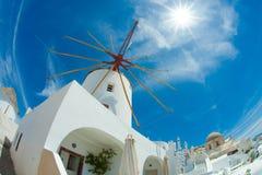 Windmill in Santorini Stock Image
