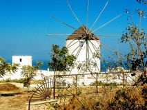 Windmill. On santorini on blue sky background Royalty Free Stock Photography