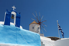 Windmill on Santorini island Stock Image