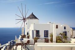 Windmill on Santorini Island, Greece Stock Photo