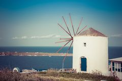 Windmill on Santorini island, Greece. Stock Images