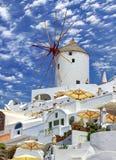 Santorini windmill Stock Photography