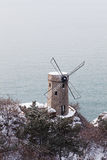 The windmill of seaside. Which can be used to generate electricity, but also is a kind of landscape Stock Photography