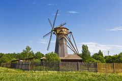 The windmill the second half of the 19th century, was relocated from the village Kochemleva  of Kashinsky district of Tver region. Museum of wooden stock image