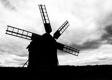 Windmill silhouette black and white wallpaper Stock Photos