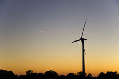 Windmill silhouette Royalty Free Stock Image