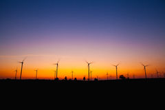 Windmill silhouette on suset Royalty Free Stock Photo