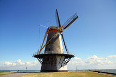 Windmill in small Dutch town Vlissingen (Zeeland, Netherlands). Stock Photography