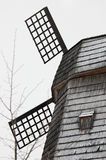 Windmill. Snow-covered old wooden windmill. large fragment mill Royalty Free Stock Photos