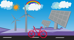 Windmill ,Solar cell and bicycle with a beautiful sky Royalty Free Stock Photography