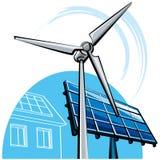 Windmill and solar panel Stock Photos