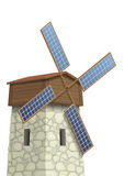 Windmill with solar panels Stock Photography