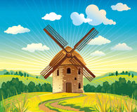 Windmill. Solar summer landscape with a windmill. No gradient mesh and other effects Stock Image