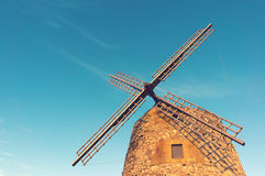 Windmill in spain with vintage effect Stock Photography