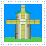 Windmill on stamp Stock Images