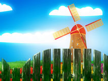 Windmill and summer landscape Stock Photos