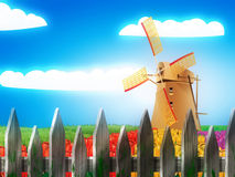 Windmill and summer landscape Royalty Free Stock Photos