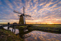 Windmill Sunrise. The Meerburgermolen during a wintery sunrise Royalty Free Stock Photo