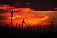 Windmill sunset Stock Photos