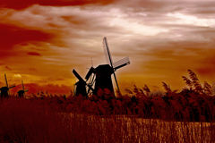 Windmill at sunset. Stock Photo