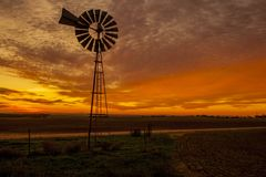 Windmill Sunset stock images