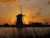 Windmill with sunset Royalty Free Stock Photos
