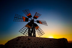 Windmill at sunset Royalty Free Stock Photos