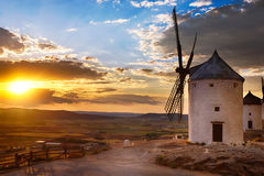 Windmill at sunset, Consuegra, Spain Royalty Free Stock Photography