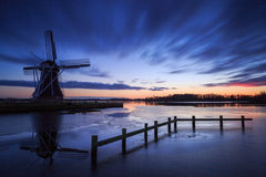 Windmill sunset Stock Photos