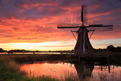 Windmill sunset Royalty Free Stock Images