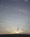 Windmill and sunset view. Windmill, renewable energy and sunset view Stock Photo