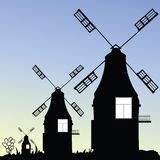Windmill three vector in black Royalty Free Stock Image