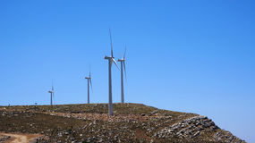 Windmill on top of the mountain Ataviros Royalty Free Stock Photography