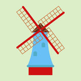 Windmill tourism travel design famous building and euro adventure international vector illustration. Stock Photo