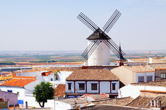 Windmill in town. Campo de Criptana Stock Photo