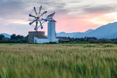 Windmill. Traditional windmill near Alcudia in Mallorca used for irrigation of the fields Stock Photos