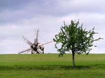 Windmill and Tree Stock Photo