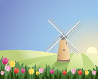 Windmill with tulips. An illustration of a windmill with white sails in a peaceful landscape with colorful tulips under a blue sky Stock Photography