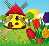 Windmill and tulips. Vectors illustration Stock Image