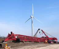 Windmill Turbine Construction Site Wind Energy. Construction site of a windmill turbine tower being built to provide clean green energy power and electricity Stock Photo