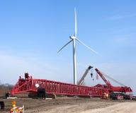 Windmill Turbine Construction Site Wind Energy stock photo