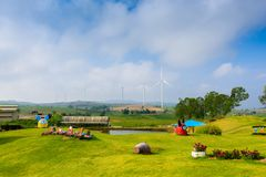 Windmill turbine for electric production at Khao Kho, Petchaboon stock photo