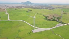 Windmill turbine on wind energy station aerial view. Alternative natural source and ecology conservation. Wind power. Generation drone view. Green technology stock video
