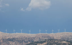 Windmill Turbines on a Hill Royalty Free Stock Photo